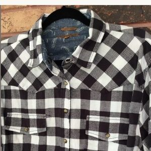 Jachs Girlfriend XL Black White Plaid Western Top